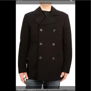 Kenneth Cole black pea coat size medium men's